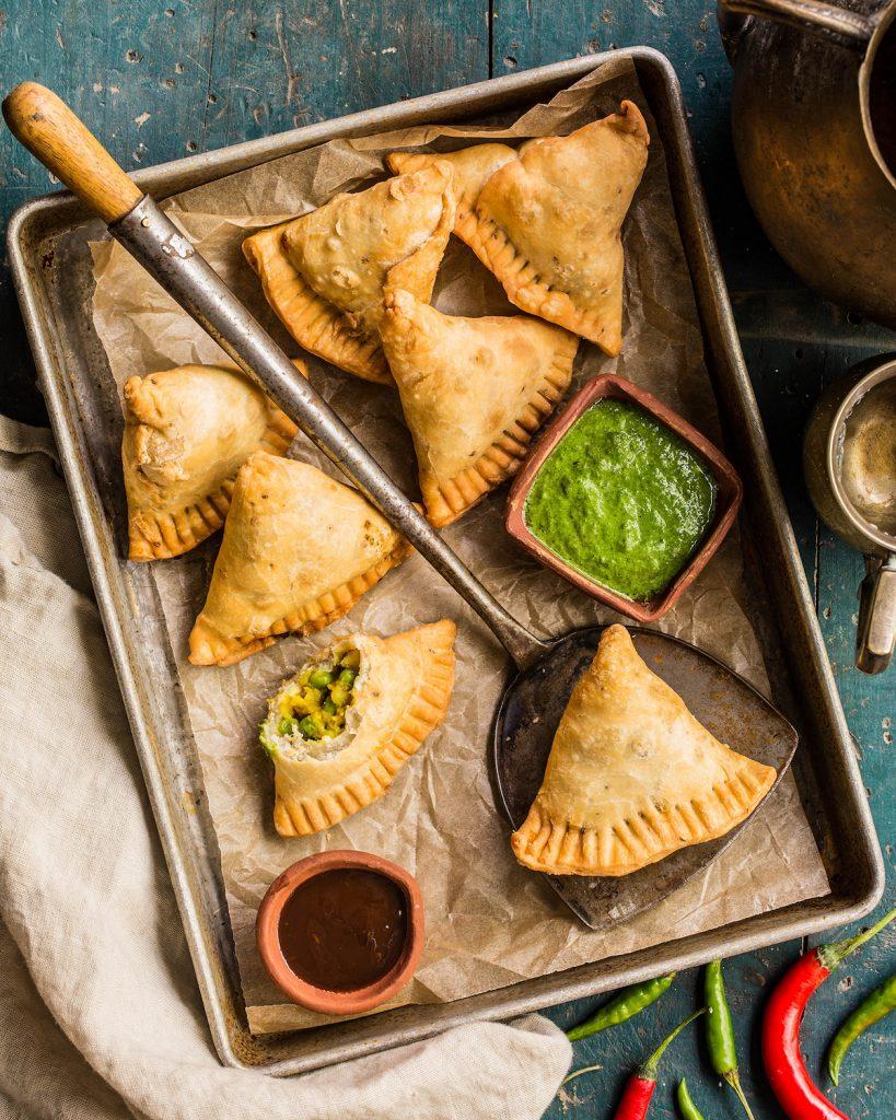 Punjabi Samosas with Mint Chutney