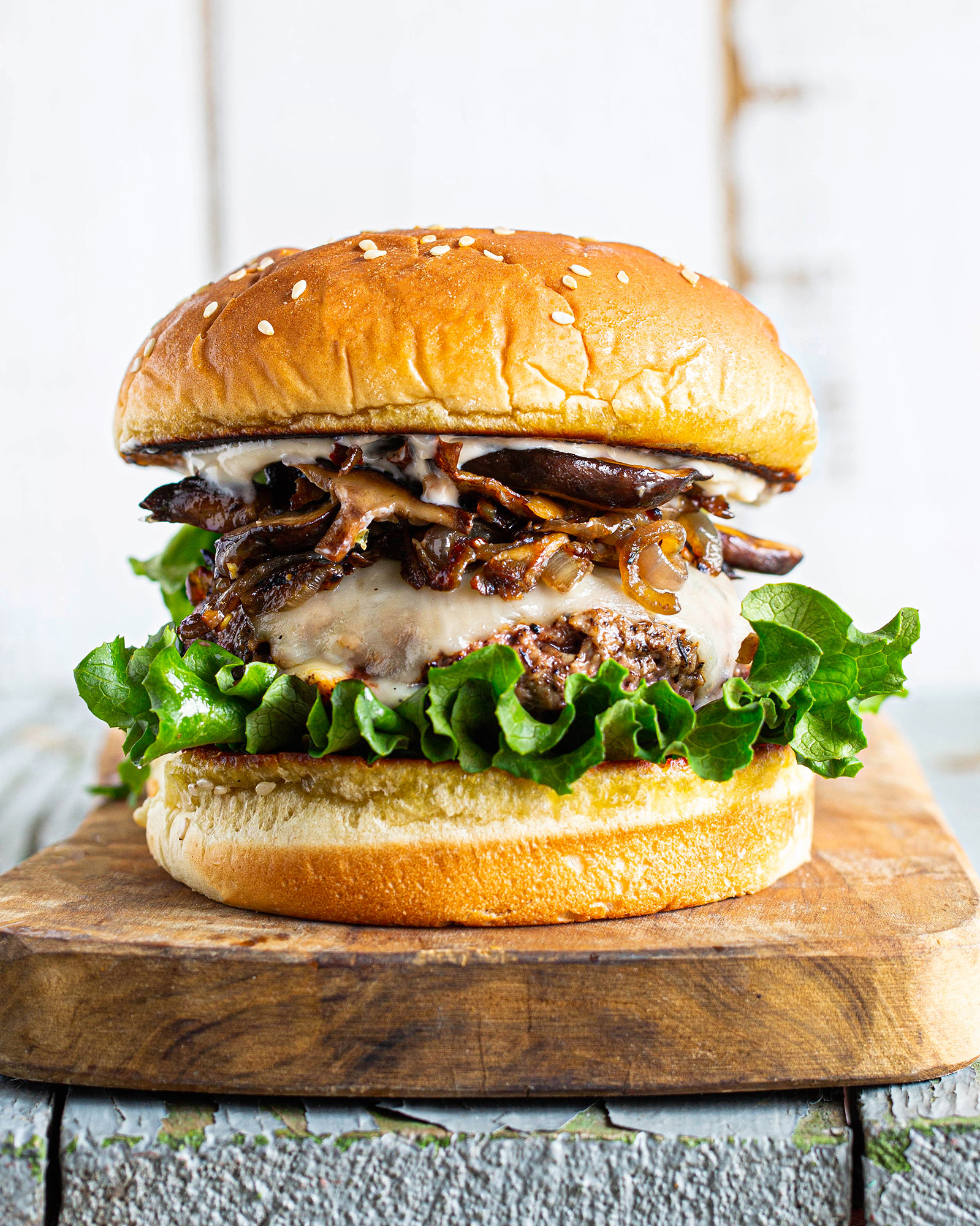 Wild Mushroom Impossible Cheeseburger With Roasted Garlic Aioli Eitan Bernath
